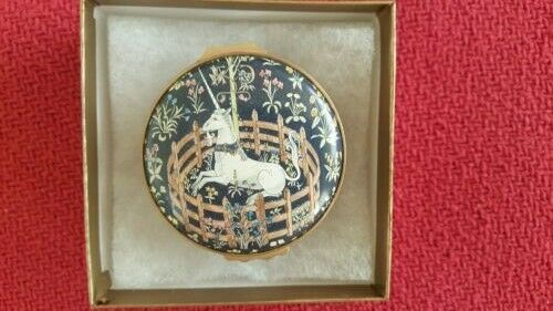 "Halcyon Days Porcelain & Enamel Pillbox ""Unicorn in Captivity""  Perfect In Box"