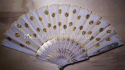 12 Fan Wedding Favors Summer Hand White Gold Wedding Favors Avanicos Boda - Summer Wedding Favors