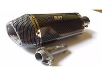 $$ Brand new Motorbike silencer carbon finish great sound $$