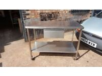 STAINLESS STEEL TABLE WORK TOP 120 CM CHEF'S TABLE ON WHEELS WITH DRAWER