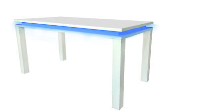 Milano High Gloss Modern Dining Room Table - White Gloss with Blue LED Lighting