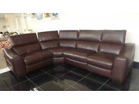 Designer Brown leather 4 piece corner sofa (93) £1299