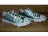 girls size 12.5 converse mint green metallic