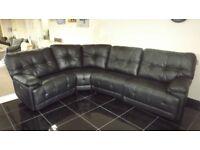 Designer Black leather 4 piece corner sofa (98) £999