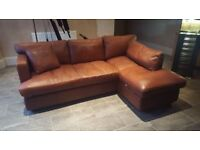 Tan Leather Corner Sofa.