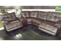 Designer Mocha leather 6 piece corner sofa with ipod dock (362) £999
