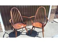 Vintage brown Ercol Windsor Quaker Armchairs (the pair)