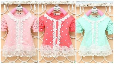 Girls polka dot white lace pearl button casual party bridesmaid cardigan   ()