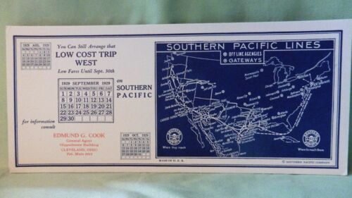 RAILROAD BLOTTER SOUTHERN PACIFIC 1929 SEPTEMBER MAP