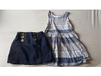 Next Baby little Denim look Skirt and H&M pattern blue and white summer dress