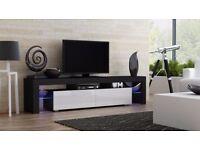 Modern TV Unit 200cm Cabinet Stand Black Matt & White High Gloss + RGB Multicolor LED Lights