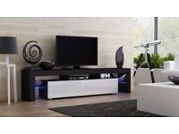 Modern TV Unit 200cm Cabinet Stand Black Matt & White High Gloss + RGB Multicolor LED Lights