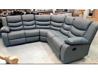 BRAND NEW GREY LEATHER CORNER RECLINER SOFA