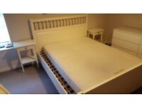 White Ikea Hemnes Double Bed with Mattress
