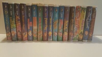"Walt Disney ~Black Diamond~ 17 set (VHS,1992) with ""6 Red Signatures"" included"