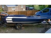 14FT PLANCRAFT STINGRAY SPEEDBOAT WITH 60HP MARINER OUTBOARD ENGINE, REMOTES TRAILER, SEATS