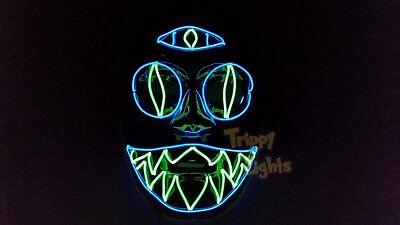 Third Eye Chakra Cat Rave Handmade Light Up Rave Glow Halloween Costume MASK! - Halloween Cat Eye Masks