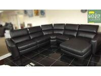 Designer Black leather 5 piece lounger corner sofa (140) £1999