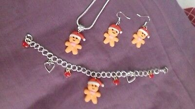 CHRISTMAS GINGERBREAD MAN NECKLACE, EARRINGS, BRACELET, CHRISTMAS STOCKING (Filled Gingerbread)