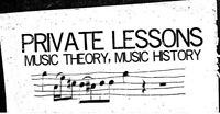 PRIVATE LESSONS: MUSIC THEORY, MUSIC HISTORY