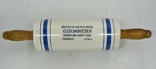 REPRO STONEWARE ROLLING PIN FROM GROSSERS GROCERY STORE CRESCO IOWA