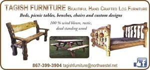 Hand crafted log Furniture for sale.