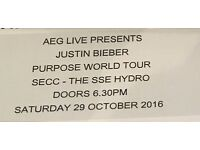 2 x Hydro Club Tickets for Justin Bieber Purpose Tour - Glasgow's SSE Hydro on Saturday 29th October