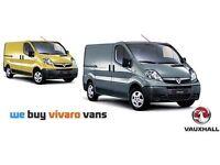 We Buy Vauxhall Vivaro, Renault Trafic, Nissan Primastar panel vans for cash