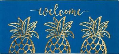 ❣👣❣  DOOR MAT 🕳 GOLD PINEAPPLE WELCOME 🕳  SASSAFRAS SWITCH MAT INSERT 🕳 NEW Gold Door Mat