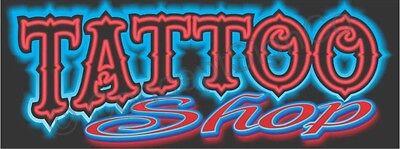 1.5x4 Tattoo Shop Banner Outdoor Indoor Sign Neon Look Tattoos Piercings Ink