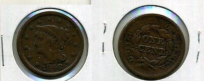 1848 BRAIDED HAIR LARGE CENT TYPE COIN VF 1437F