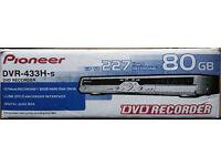 Pioneer DVR-433H-S Ultra slim DVD-R / DVD-RW Recorder, 80Gb HDD - Silver. Save TV recordings to DVD
