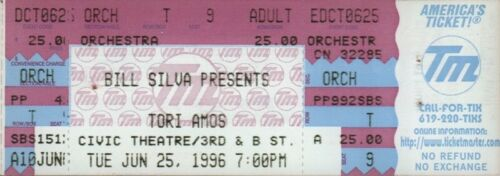 TORI AMOS 1996 DEW DROP INN TOUR UNUSED SAN DIEGO THEATRE CONCERT TICKET
