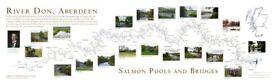 River Don Salmon Pools and Bridges map - antique pine frame