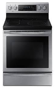 Cuisinière électrique SAMSUNG 30 po, Autonettoyant, Tiroir réchaud, 5,9 pi. cu., Acier Inox,  (SKU:1187), NE59J7750WS