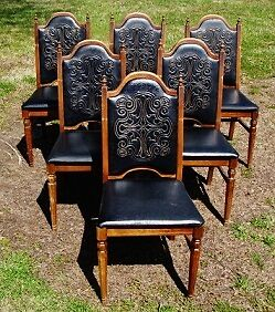 6 Vintage Jacobean Tuscan Old World Style Oak Dining Side Chairs EBay