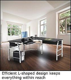 black l shaped desk