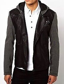 Men's black hooded leather jacket from River Island (Medium)