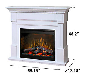 Essex Electric Fireplace Mantel Package in White
