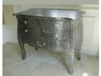 2 X Black & Silver Metal Embossed low rise Chest of Drawers