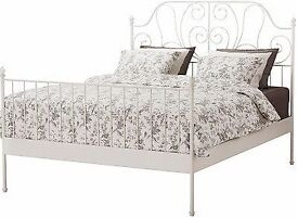 Ikea Leirvik Double Bed, base, mattress and protector - White Iron Metal