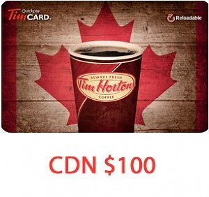 50% OFF ON 100$ PREPAID TIM HORTON CARD ! FIRST COME FIRST SERVE