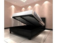 MODERN GAS LIFT HYDROLIC SYSTEM! DOUBLE / KING LEATHER OTTOMAN STORAGE BED WITH MATTRESS OF CHOICE