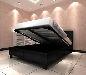 AMAZING OFFER - BRAND NEW DOUBLE AND KING OTTOMAN STORAGE LEATHER BED WITH MATTRESS