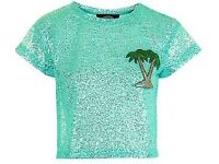 Topshop Glitter Palm Tree Top