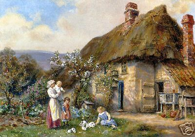 Moss Cottage - Old Masters Vintage Print,  In A Cottage Garden By Frank Moss Bennett 13x18