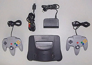 Nintendo 64 and games and controllers