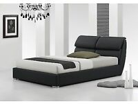 modern leather double bed with memory foam mattress