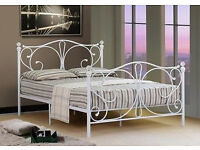 Brand New 4ft6 Double White Metal Bed Frame With Crystal Finials with Memory Foam Mattress