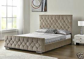 Bed Frame Velvet Mink Chenille King Size
